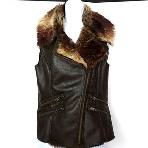 Members Only Moto Style Faux Mink Fur Small